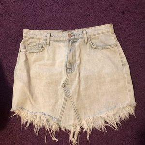 7 For All Man Kind Frayed Denim Skirt Size 29
